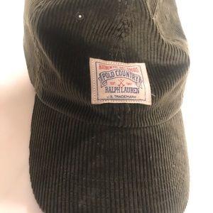 Green corduroy polo baseball hat